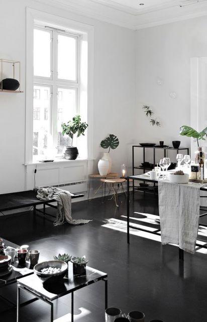 sala-com-piso-preto-de-porcelanato