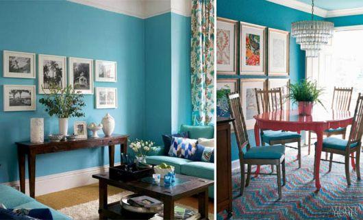 Sala De Estar Azul Turquesa ~ Decoração Azul Turquesa Dicas e 44 fotos de projetos!