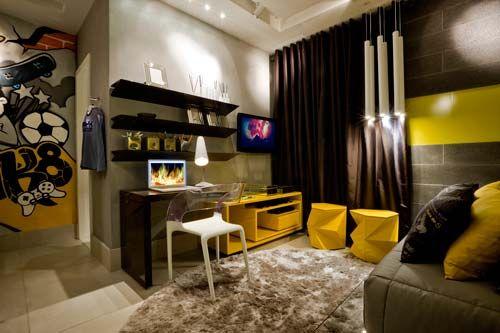 decoração cinza e amarela