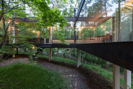 Casas na floresta 33 projetos simples modernos e for Casa minimalista bosque