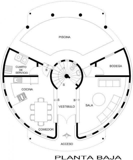 planos de casas pequenas redondas