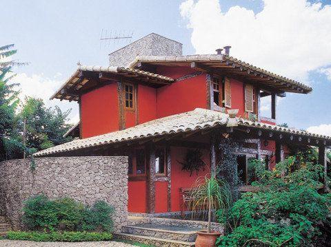 Casas vermelhas dicas de tintas e 28 modelos de fachadas - Fachadas casas campo ...