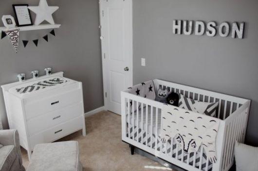 Quarto de Bebê Cinza 40 fotos de projetos inspiradores! ~ Quarto Solteiro Cinza E Branco