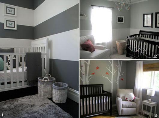 Quarto de Bebê Cinza 40 fotos de projetos inspiradores! ~ Quarto Preto Cinza E Vermelho