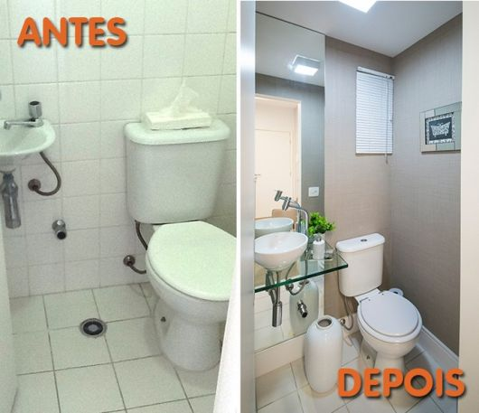 Reforma de Banheiro Ideias Criativas e 35 projetos inspiradores! -> Reformar Banheiro Pequeno Gastando Pouco