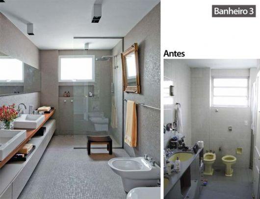 Reforma de Banheiro Ideias Criativas e 35 projetos inspiradores! -> Banheiro Cinza Moderno