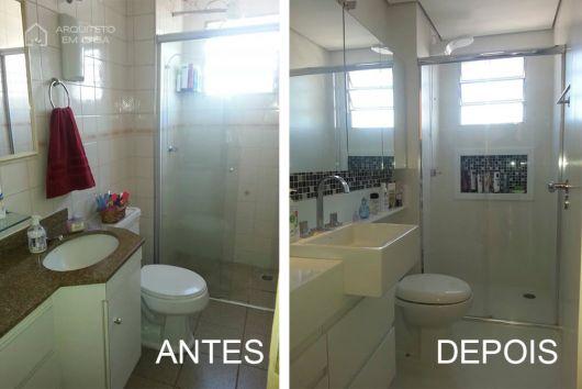 Reforma de Banheiro Ideias Criativas e 35 projetos inspiradores! -> Reforma Banheiro Pequeno Antes E Depois