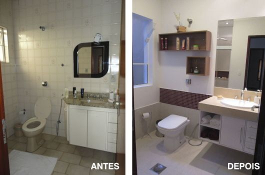 Reforma de Banheiro Ideias Criativas e 35 projetos inspiradores! -> Reforma De Banheiro Pequeno Antes E Depois