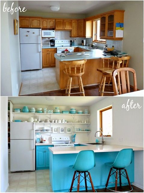 A cor turquesa deixa a cozinha mais alegre