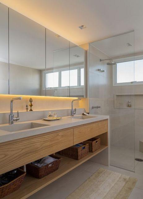 Espelhos para banheiro modelos, preços e fotos inspiradoras! -> Armario De Banheiro Com A Pia