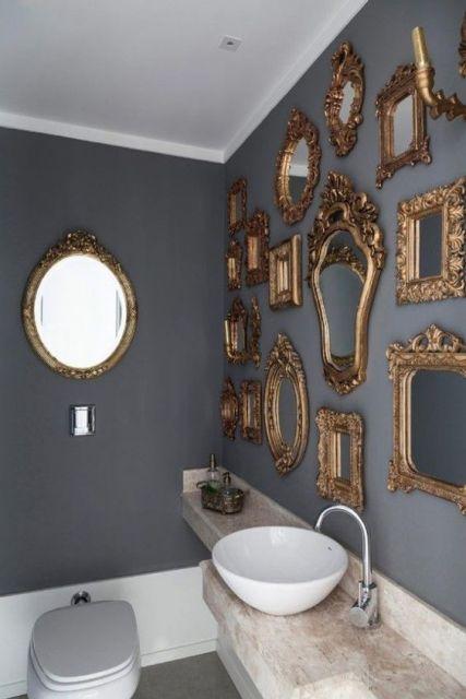 parede com espelhos