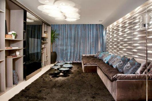 decoração marrom e azul sala