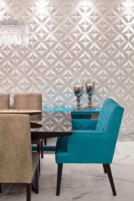 sala de jantar azul