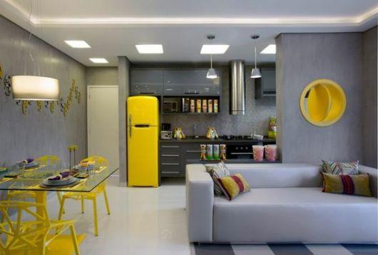 decoração cinza e amarelo