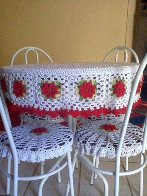 assento para cadeira de crochê