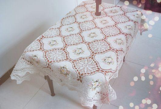 toalha de crochê branco