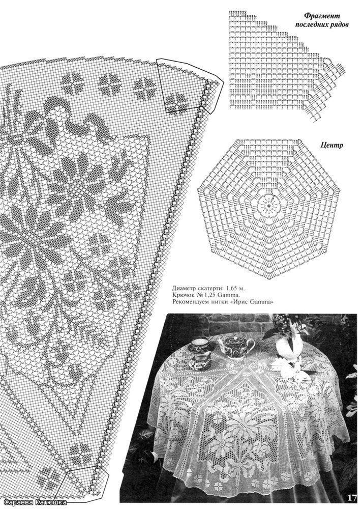 gráfico crochê filé com flores