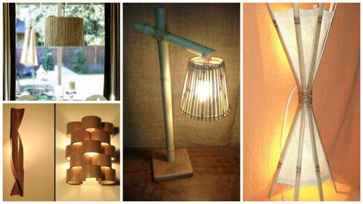 modelos abajur de bambu