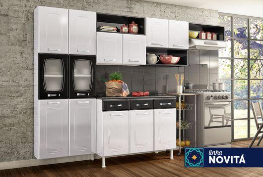 cozinha branca e preta Telasul