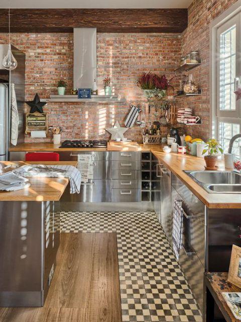 cozinha moderna e rústica