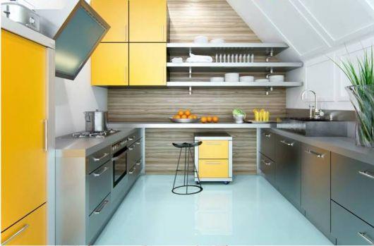 projeto cozinha moderna e colorida