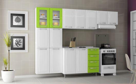 armário branco e verde