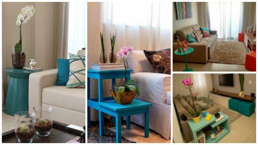 mesa azul turquesa decoração