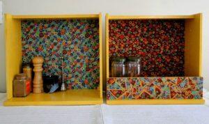 nicho de gaveta revestido com tecido