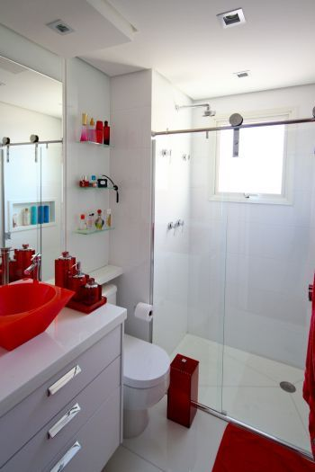 Banheiros decorados + de 80 ideias e inspirações incríveis! -> Gabinete De Banheiro Vermelho E Branco
