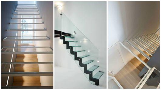 escada de vidro com alumínio