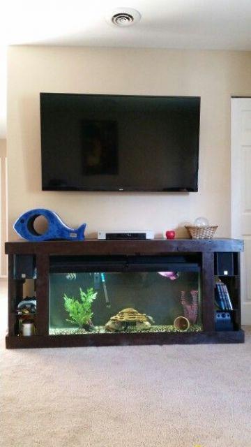 Aquário usado como móvel embaixo da TV com pequenas prateleiras