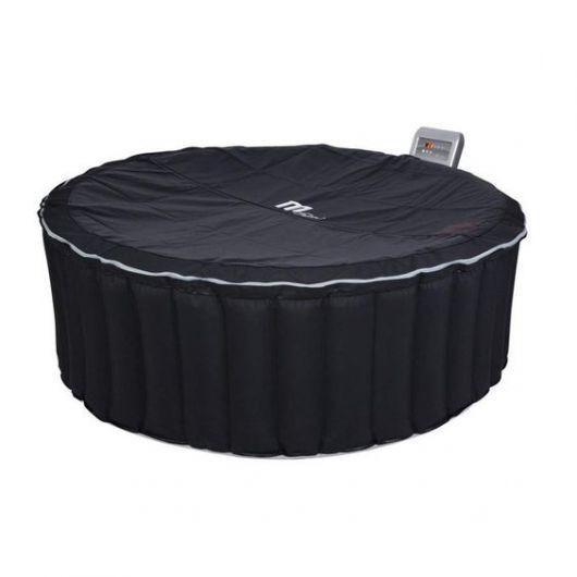 Ofurô inflável preto com capa protegendo a superfície