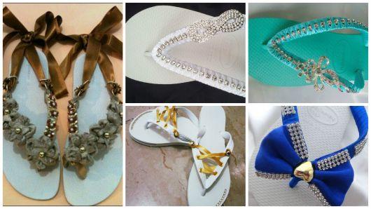 chinelos decorados cetim