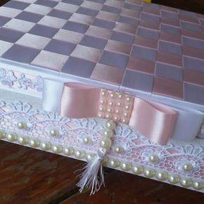 caixa de MDF decorada fitas