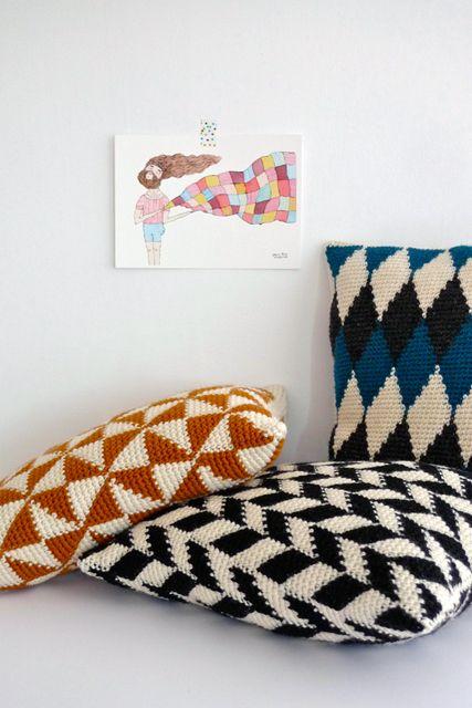 almofada tricô moderna