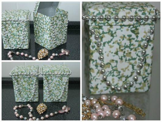 caixa de leite decorada com tecido