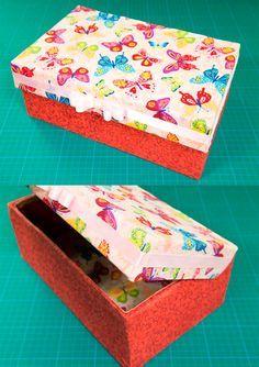 caixa sapato decorada borboleta