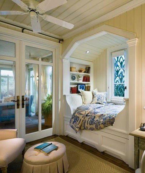 bay window transformada em cama