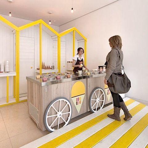 decoração de sorveteria em branco e amarelo