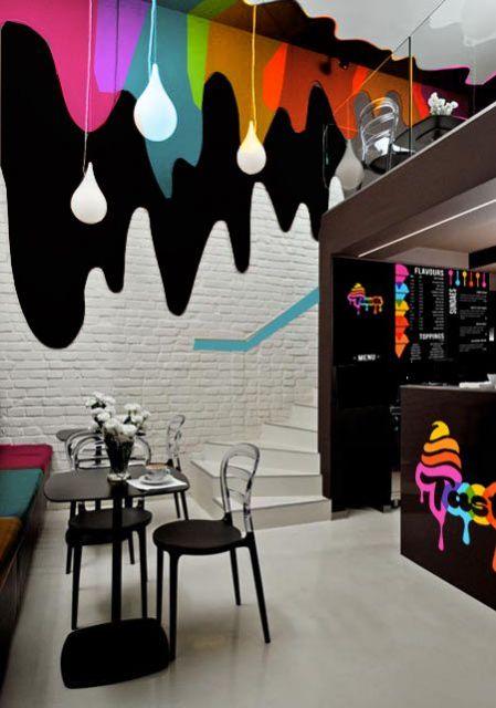 decoração de sorveteria preto e branco com algumas cores