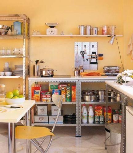 estante de aço embaixo da pia da cozinha