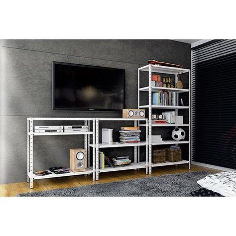 estantes de aço embaixo da televisão