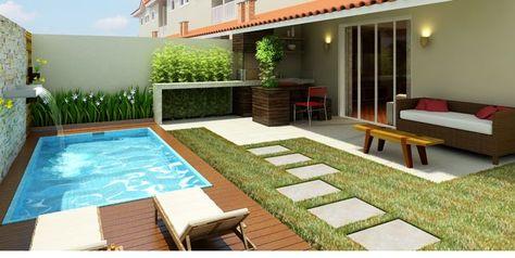 Jardim com piscina 25 fotos incr veis de modelos em todos os estilos que v o combinar com sua casa - Pisos baratos de bancos en el ejido ...