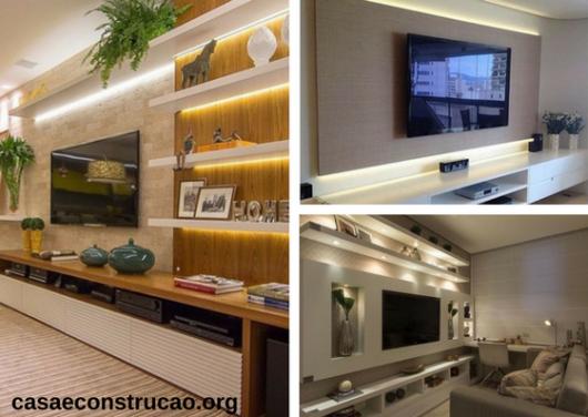 móveis planejados de sala com iluminação