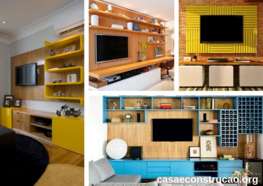 móveis planejados coloridos para a sala de TV