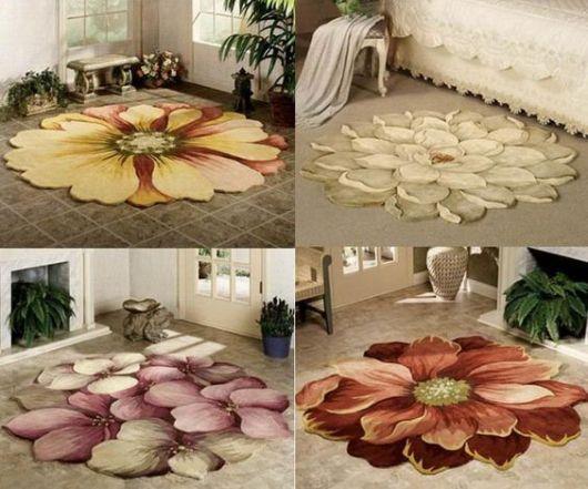 opções de tapetes emborrachados pintados a mão com formato de flores