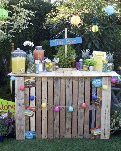 decoração pallet festa
