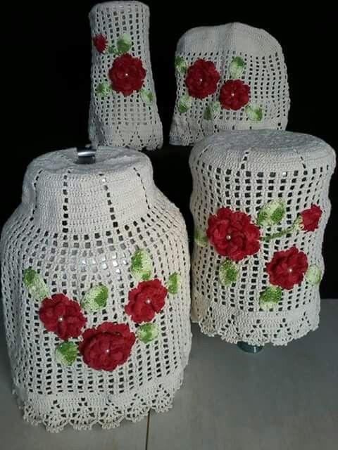 conjunto de crochê para cozinha