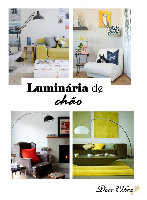 Montagem ilustrativa com fotos de ambientes clean com luminária de chão.