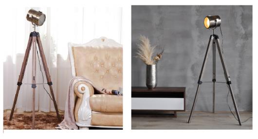 Modelos de luminária nas cores cobre e prata com tripé.